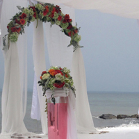 ::Beach wedding ceremony, coral decoration