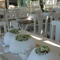 ::'Pebbles' - centerpiece - Santorini Island wedding