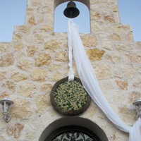 ::Hanging wreath of tanacetum - country chapel decoration